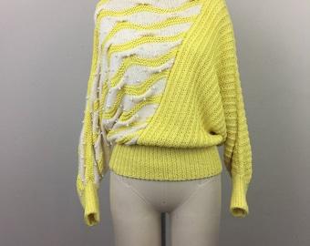Vintage 80s Yellow White Asymmetrical Sweater Cotton Angora Pearls S/M