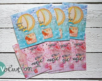 8 YOU are magic (boy and girl) mixed media Postcards