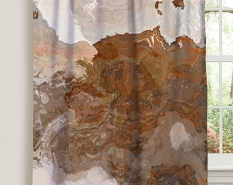 "Abstract art window curtain in coffee, brown and gray, 50""x84"" blackout drapery panel, contemporary rod pocket curtain, Ball and Chain"