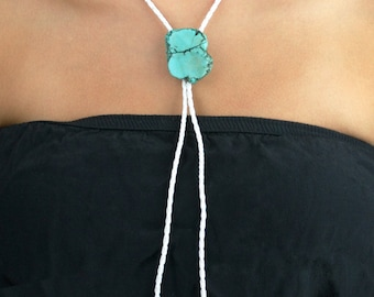 Bolo Tie Necklace Faux Turquoise Stone White Braided Leather