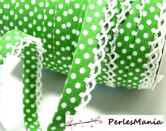 50cm Ribbon through lace green and white polka dots 12mm ref 71486 color 88