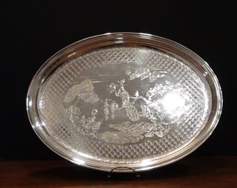 Silver Plated Serving Tray. Gorham Peacock Tray, Catering Tray, Bridal Shower, Wedding, Gorham Platter