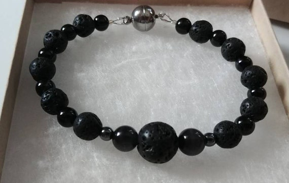 Men's Lava Bead Bracelet, Black Lava Bead Jewelry with Magnetic Clasp