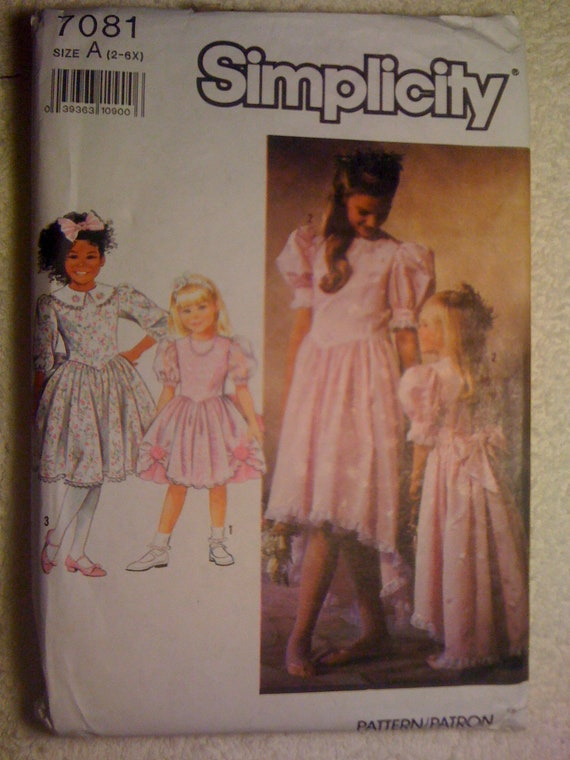 Simplicity 90s Sewing Pattern 7081 Girls Dress In Two Lengths with Trim Variations Size 2-6x Sale