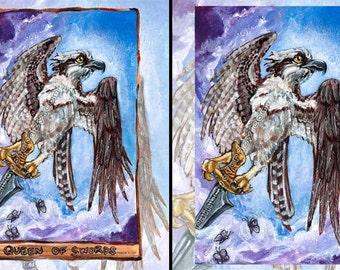 Osprey Art, Bird of Prey Print, Queen of Swords Tarot Card, Rustic Wall Art, Cloudy Sky Blue Decor, Any Size Print, Animism Tarot Deck