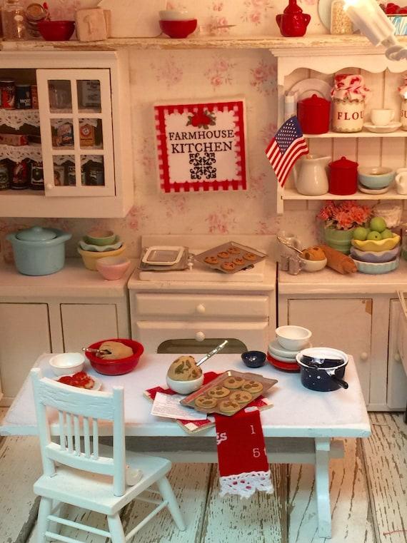 "Miniature Farmhouse Kitchen Canvas Sign- Miniature scale 2""x2"""