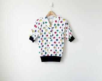 80s Polka Dot Jersey Top - 80s Top - 80s Shirt - 80s Clothing - 80s Blouse - Polka Dot Top - Polka Dot Blouse - 80s Polo Shirt - Women's L