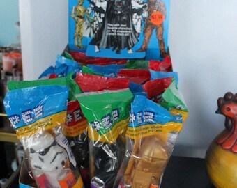 Retro 1997 Star Wars Pez Display and 24 unopened Pez Dispensers, NOS Star Wars PEZ Candy dispensers, NOS Star Wars Display and Candy