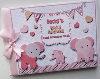 Personalised Pink Elephant Baby Shower Guest Book /Memory Album Scrapbook Gift