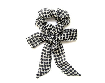 Polka Dot Scrunchie, Bow Scrunchie, Elastic Hair Tie, Soft Hair Tie, Gift for Her, Womens Gift,Skinny Scarf, Under 15 Dollars, Ready To Ship