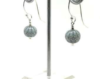 Turquoise Blue Dangle Earrings with Sterling Silver Hooks And Lampwork Glass Beads.