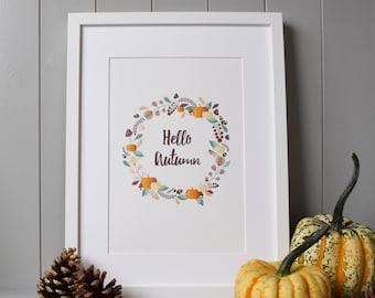 Hello Autumn Print Wall Art (A4) - Fall Season Decor Gift