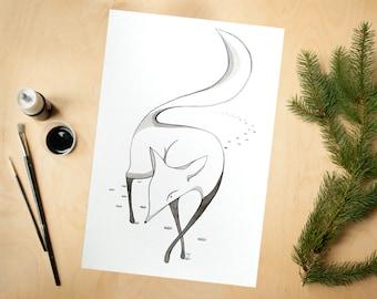 Ink fox art print