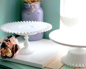 Milk Glass Cake Stand / Milk Glass Cake Stand / Vintage Weddings White Weddings / Fenton Silvercrest