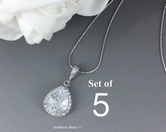 Set of 5 Necklace Cubic Zirconia Bridal Jewelry Bridesmaid Gift Crystal Necklace Bridesmaid Necklace Wedding Jewelry Gift for Her