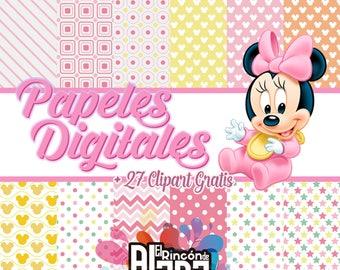12. digital papers 12 x 12 Baby Minnie