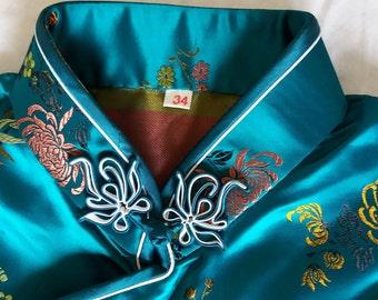 Vintage  silk brocade  Chinese cheongsam  long dress