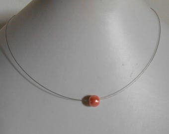Wedding coral solitaire Pearl Necklace