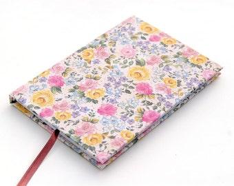 Handmade hardcover notebook journal sketchbook with vintage flower pattern A4