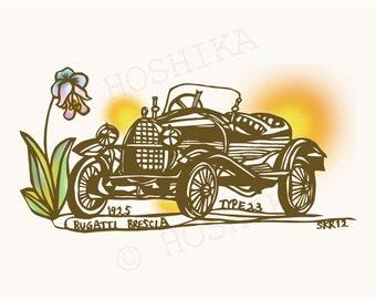 1925 Bugatti Brescia Type23, Vintage Car Series, prints of Kiri-e (hand-cut paper art), set of 6 greeting cards