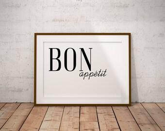BON Appetit Printable Wall Art, Digital Art, Kitchen Poster, Typography Print, Kitchen Print, Eat Poster, Dining Poster, Black and White