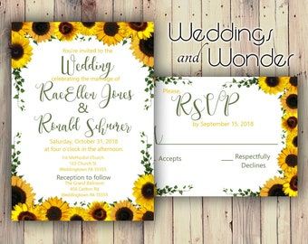 Sunny Days Sunflower Premium Glossy - Wedding Invitations