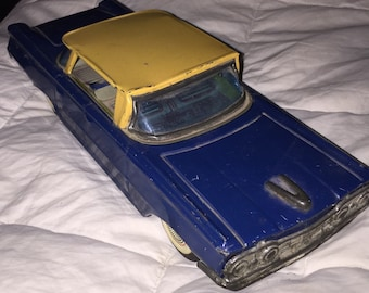 SALE 1960s RETRO Friction Car, Antique Classic Retro Friction Toy Original Two Toned Mod Mid Century Friction TOY Litho Tin Toy