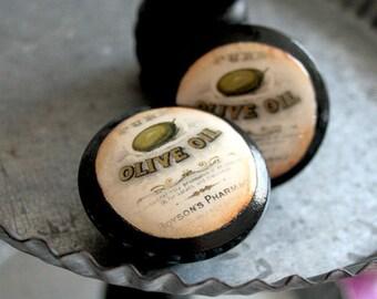Ensemble Vintage boutons d'huile d'Olive 18 pc
