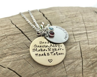 Mom Necklace Gift - Hand Stamped - Birthstone Necklace - Large Two Disk - Personalize - Children's Names - Family Tree