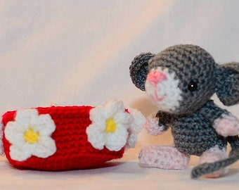 Shy Maisie Mouse peeping out of her flower basket, cute hand crochet plush softie animal toy