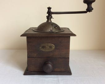Large antique French coffee grinder by Peugeot Freres in dark wood in working order