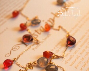 """Wirewrapped necklace - Long  necklace with gemstones - - semi precious stones  """"Butterfly"""""""