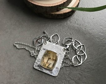Dendritic Quartz and Sterling Silver Rectangle Pendant with Handmade Hammered Silver Chain, OOAK Long Pendant Necklace, Stone Jewelry