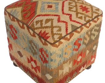 "Aleta tan/rust kilim upholstered handmade ottoman(20""x15""x15"")"