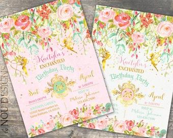 Glitter Sparkle Fairy Enchanted Garden Birthday Invitation Card- Printable File