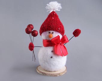 Winter snowman decor with red hat, bow, mittens. White winter rustic Christmas Indoor Decoration. Cute gift 18cm/7""
