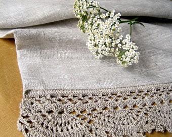 Linen table runner Lace Crochet table runner Linen tablecloth Long table runner Linen table runners Flax table runner Wedding table runner