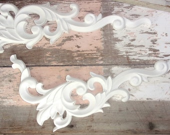 Shabby Chic Furniture Appliques * Large Architectural Corners (2) * Paintable * Stainable * 5.95 No Limit Shipping