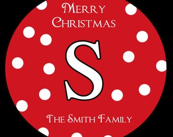 "12 Personalized Christmas Stickers -  - 2.5"" Inches"
