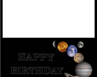 Digital Space Birthday Card, Stars, Planets, Outer Space, Digital Download, Printable