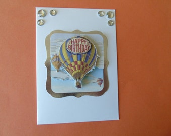 "Birthday card ""Happy Birthday"" #3-D #Balloon flight"