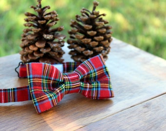 Christmas Boys Bow Tie - Red Plaid Bowtie for Infant, Toddler, Child, Preteen | kids bow tie | holiday bow tie | boys bowtie | plaid bow tie