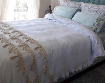 Hand Crochet Tassel Bedding Bedspread  Coverlet Turkish Blanket Ivory  Lightweight Super KING Queen Woven Natural