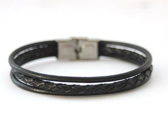 Men's Bracelet black leather braided leather and stainless steel clasp - men leather bracelet - black leather bracelet