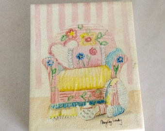 """Chair painting, 4 x 5 inch painting, Giclee repro, Mary Kay Crowley, pastel chenille chair, yellow pink, blue, """"Sitting Pretty Baby"""""""