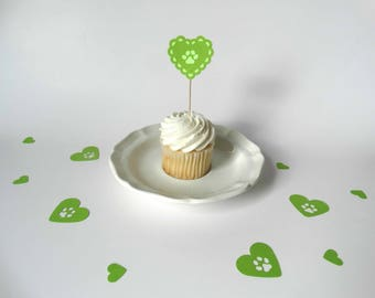Paw Print Cupcake Toppers, dog theme party, blues clues decorations, paw patrol party, kids birthday decoration, scalloped heart toppers