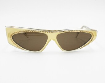 Rare and collectable J.P. Michels asymmetric rhinestones mask sunglasses, New Old Stock 1970s