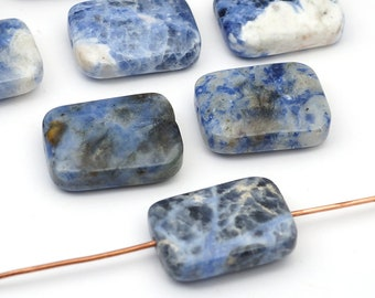 10 pcs flat rectangular sodalite beads, smooth blue and white semiprecious stone, 19mm