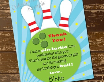 Bowling thank you card birthday printable digital file bowling thank you card birthday printable digital file bowling ball bowling pins stationery thecheapjerseys Images