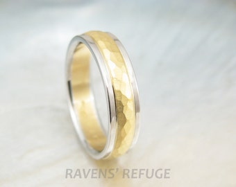 platinum and 22k gold wedding band -- hammered two tone ring with rustic finish